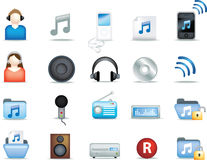 Ícones detalhados da música Foto de Stock
