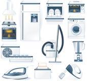 Ícones detalhados dos aparelhos electrodomésticos do vetor Fotografia de Stock Royalty Free