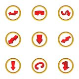 Ícones diferentes ajustados, estilo da seta dos desenhos animados Fotografia de Stock Royalty Free