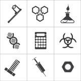 9 ícones diferentes da ciência ilustração stock