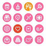 Ícones diferentes do dia de Valentim ajustados Imagem de Stock Royalty Free