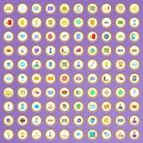100 ícones digitais do mercado ajustados no estilo dos desenhos animados Foto de Stock Royalty Free