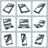 Ícones digitais dos dispositivos do vetor ajustados Imagens de Stock