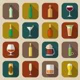 Ícones do álcool lisos Fotografia de Stock