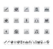 Ícones do áudio e dos media. Imagem de Stock Royalty Free