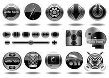 Ícones do ícone-Ilustração-vetor do metal Imagem de Stock Royalty Free
