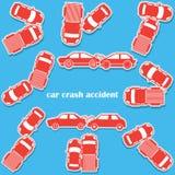 Ícones do acidente de viação no formato da etiqueta Imagem de Stock Royalty Free