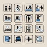 Ícones do aeroporto ajustados ilustração royalty free
