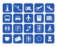 Ícones do aeroporto da silhueta dos desenhos animados ajustados Vetor ilustração stock
