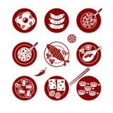 Ícones do alimento ajustados Fotografia de Stock Royalty Free