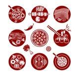 Ícones do alimento ajustados Fotos de Stock Royalty Free
