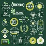 Ícones do alimento biológico e da bebida e grupo de elementos ilustração do vetor