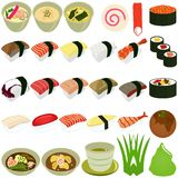Ícones do alimento: Culinária japonesa - sushi, sopa Fotografia de Stock Royalty Free