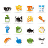 Ícones do alimento, da bebida e da bebida Foto de Stock Royalty Free
