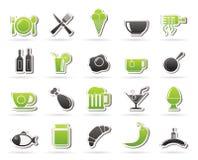 Ícones do alimento, da bebida e do restaurante Fotos de Stock Royalty Free