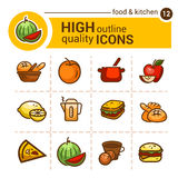 Ícones do alimento da cor Imagens de Stock