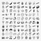 Ícones do alimento da garatuja ajustados Imagens de Stock Royalty Free