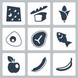 Ícones do alimento do vetor ajustados Imagem de Stock