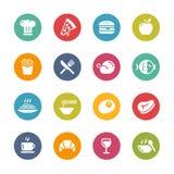 Ícones do alimento e da bebida - 1 -- Série fresca das cores ilustração stock