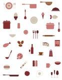 Ícones do alimento e da cozinha Fotografia de Stock Royalty Free