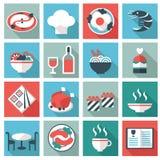 Ícones do alimento e do utensílio do restaurante ilustração royalty free