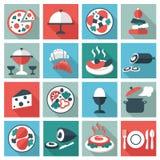 Ícones do alimento e do utensílio do restaurante ilustração stock