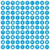 100 ícones do alimento natural ajustados azuis Ilustração Stock