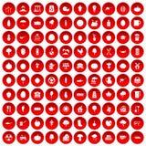 100 ícones do alimento natural ajustados vermelhos Imagem de Stock Royalty Free