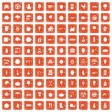 100 ícones do alimento natural ajustaram o grunge alaranjado Imagem de Stock