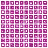 100 ícones do alimento natural ajustaram o rosa do grunge Fotos de Stock
