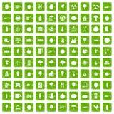 100 ícones do alimento natural ajustaram o verde do grunge Fotos de Stock Royalty Free