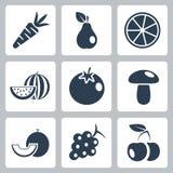 Ícones do alimento natural do vetor ajustados Fotografia de Stock