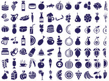 Ícones do alimento no branco Fotografia de Stock Royalty Free