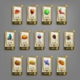 Ícones do alimento para jogos ilustração do vetor