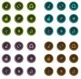 Ícones do ambiente feitos das fibras ilustração stock