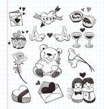 Ícones do amor da garatuja Foto de Stock