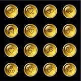 Ícones do amor da gota do ouro