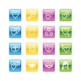 Ícones do amor do Aqua Foto de Stock Royalty Free