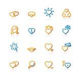 Ícones do amor do contorno Imagem de Stock Royalty Free