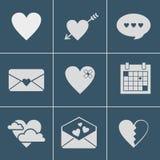 Ícones do amor do correio ilustração stock