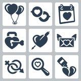 Ícones do amor do vetor ajustados Fotos de Stock Royalty Free