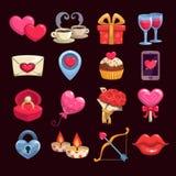 Ícones do amor e da paixão dos desenhos animados Imagens de Stock Royalty Free