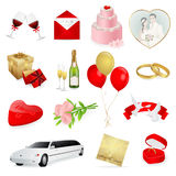 Ícones do amor e do casamento ajustados Foto de Stock Royalty Free