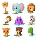 Ícones do animal dos animais selvagens dos desenhos animados Imagens de Stock Royalty Free