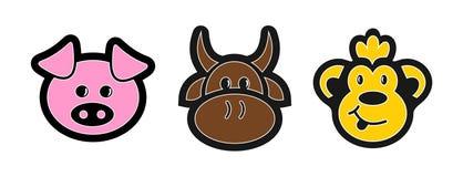 Ícones do animal dos desenhos animados Imagens de Stock Royalty Free