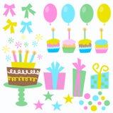 Ícones do aniversário Fotografia de Stock
