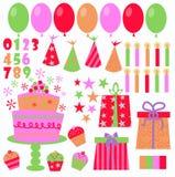 Ícones do aniversário ilustração stock