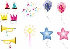 Ícones do aniversário Foto de Stock