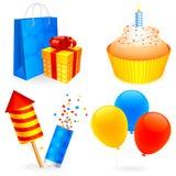 Ícones do aniversário. Imagens de Stock Royalty Free