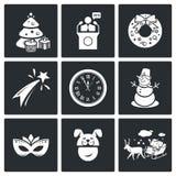 Ícones do ano novo ajustados Fotografia de Stock Royalty Free